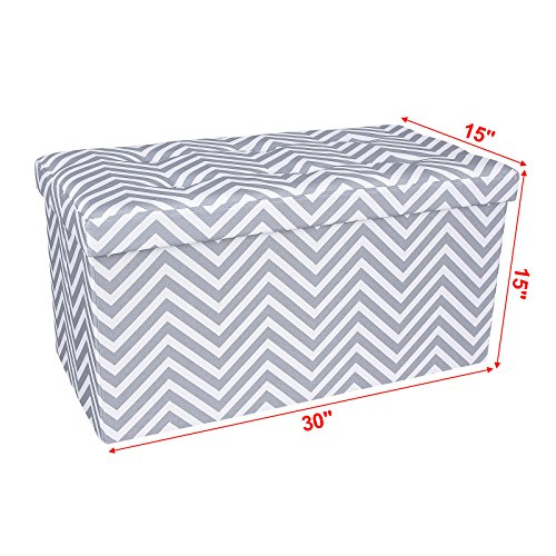 Folding Foyer Bench : Songmics chevron folding storage ottoman bench footrest