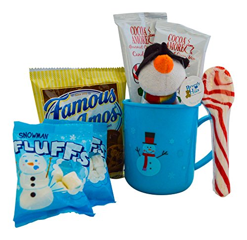 Christmas Hot Cocoa Gift For Kids - Candy Cane Hot Chocolate, Marshmallows,Cookies, Plush , and a Candy Cane Spoon in a Plastic Mug -Great Gift For Children or Grandchildren (Blue Mug, Snowman Plush) (Candy Stocking Stuffers For Kids compare prices)