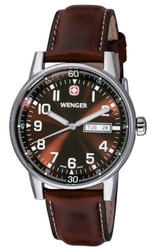 Wenger Men's 70162 Commando Day Date XL Brown Dial Brown Leather Strap Watch