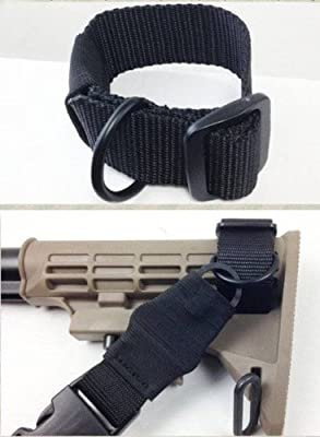 Ultimate Arms Gear Ambidextrous Slip On Stock Buttstock Black Sling Mount Strap Loop Adapter Rifle Shotgun Attachment Nylon Webbing with D-Ring For Ruger American Mini-30 CZ 527