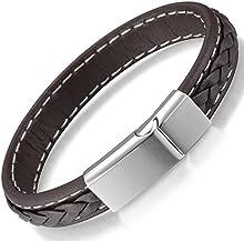 Comprar Ostan - 316L acero inoxidable y cuero gótico pulseras de hombres - nueva moda joyería brazaletes, marrón