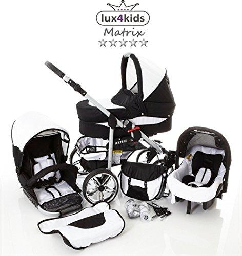 Chilly-Kids-Matrix-II-3-in-1-Cochecito-Combinado-asiento-del-coche-incluye-adaptadores-cubierta-para-la-lluvia-mosquitero-ruedas-giratorias-de-62-colores