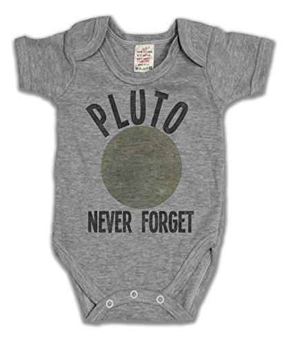 Pluto Never Forget Funny Slogan Girls & Boys Unisex Baby Grow Bambino Crescere grigio 0/3 Mesi