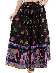 Decot Paradise Women's Cotton Regular Fit Skirt (Black)