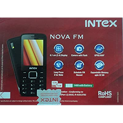 Intex Nova FM With Wireless FM (Dual Sim) (Black & Champagne)