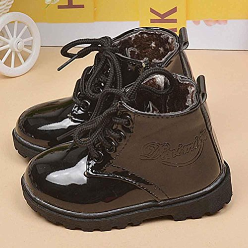 Tenworld Winter Baby Kids Boys Girls Shoes Lace-up Army Martin Boots (21, Black)
