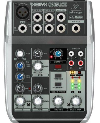 BEHRINGER xenyx Q502 USB mixer audio 5 canali per karaoke, live, home-studio ecc...