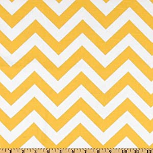 54'' Wide Premier Prints ZigZag Slub Yellow/White Fabric By The Yard