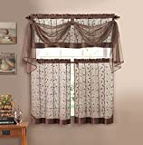 Linen Leaf Embroidered Sheer Kitchen Curtain Set - Assorted Colors (Chocolate)