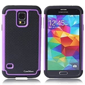 CaseMore Purple Plastic + Silicon Material Protective Armor Defender Case for Samsung Galaxy S5 S V with 1 Screen Protector and 30 CM Charger Data Cable