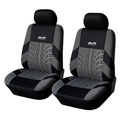 AUTOYOUTH Tire Track Detail Front Bucket Seat Covers Car Interior Accessories Universal Fit - 4PCS, Black/Gray (Seat Track compare prices)
