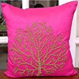 Fuchsia Tree Of Life - 24x24 inches Square Decorative Throw Fuchsia Pink Silk Sham Covers with Bead Embroidery