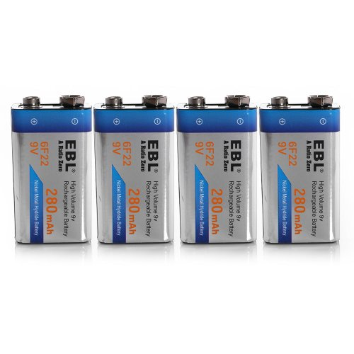 Ebl® 280Mah 9 Volt Ni-Mh Rechargeable 9V Batteries, 4 Pack
