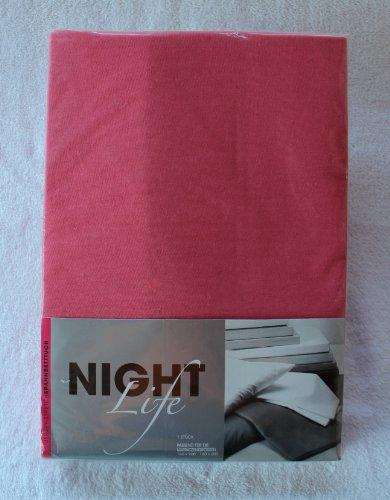 NightLife Jersey Spannbettlaken Farbe pink Größe 180 x 190 bis 200 x 200 cm Spannbettuch Spannlaken mit Rundumgummi 100% Baumwolle