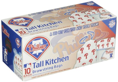 Spectrum 5813-10004 MLB Plastic Philadelphia Phillies Tall Kitchen Trash Bag, 13 Gallon Capacity (Pack of 10) at Amazon.com