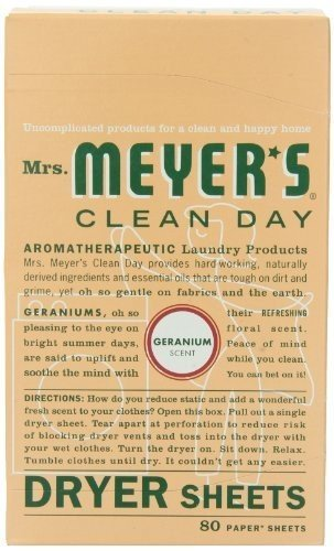 Mrs. Meyers Clean Day MRM-64594P2 Mrs. Meyers Clean Day Dryer Sheets, Geranium, 80 sheets per box, 2 pack