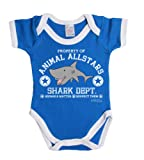 BritTot `Animal Allstars` Shark dept. cute funny boy/girl baby grow vest