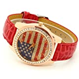 Conbays Red Us Flag Round Dial Crystal Girl Leather Quartz Wrist Watch Women Gift Luxury