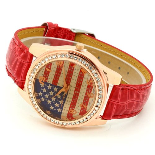 Conbays Red Us Flag Round Dial Crystal Girl Leather Quartz Wrist Watch Women Gift Luxury
