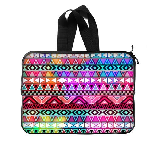 Aztec Laptop Bag - Hotstyle Neon Pink Purple Bright Aztec Pattern MacbookMacbook Air 1313.3 Inch Two Sides Handle Laptop Sleeve Bags