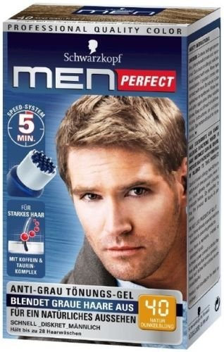 Schwarzkopf Men Perfect - For Men - Gentle Hair Color Gel - Dark Blond 40 Shipping Fast bar chair antique color ktv stool free shipping brown blue dark green color public house stool