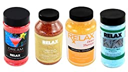 Aromatherapy Therapeutic Spa Crystals -Pack of 4- Natural Dead Sea Salts, Minerals & Vitamins for Soaking in Hottub, Bath