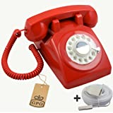 Protelx GPO PTX1970 Retro Vintage Style Old Fashioned Rotary Dial Telephone - Red, Plus BT 10m Telephone Extension Cableby Protelx