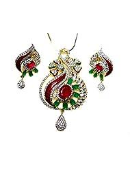 Poddar Jewels Cubic Zirconia Red/Green Meena Pendant Set With Chain