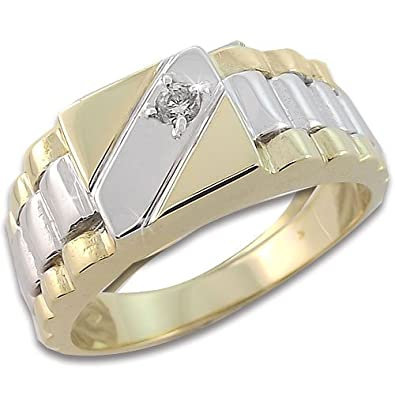 Studio 54 Men's Ring in White/Yellow 18k Gold with White Cubic Zirconia