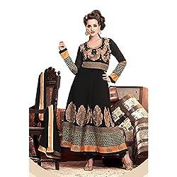 Aagaman Fashion Faux Georgette Semistitched Salwar Suit (TSHTXLOSK7006_Black)