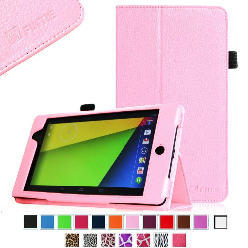 Fintie Folio Case for Google Nexus 7 FHD 2nd Gen 2013 Android Tablet Slim Fit With Auto Wake / Sleep Feature - Pink