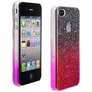kwmobile® Hardcase Regentropfen Design für Apple iPhone 4 / 4S in Pink