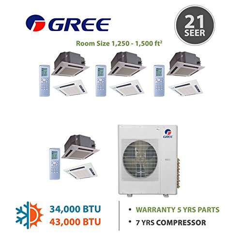 Gree MULTI36BCAS406 -36,000 BTU Multi21 Quad-Zone Ceiling Cassette Mini Split Air Conditioner with Heat Pump 220V (12-12-12) (Multi Zone Gree Mini Split compare prices)