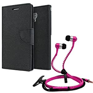 Aart Fancy Diary Card Wallet Flip Case Back Cover For Mircomax Q372-(Black) + Zipper earphones/Hands free With Mic *Stylish Design* for all Mobiles By Aart store