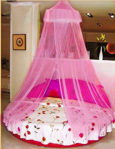 Housweety New Elegant Round Lace Curtain Dome Bed Canopy Netting Mosquito Net Pink
