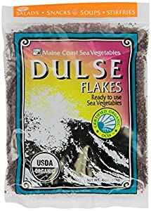 Dulse Flakes - Certified Organic- Sea Vegetables, washed, Pure Vegan- Maine COhsawast 4oz.