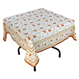 """Handmade Indian 54"""" Square Tablecloth - Orange, Green And White Floral Cotton"""