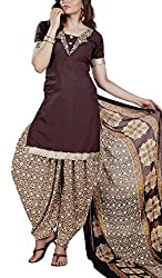Mashuka Simran Women's Synthetic Unstitched Dress Material(D-No-5574_Brown_Free Size)