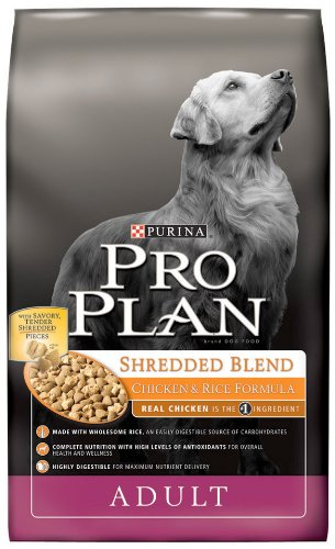 Purina Pro Plan Dry Adult Dog Food, Shredded Blend Chicken and Rice Formula, 18-Pound Bag