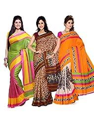 AISHA Printed Fashion Art Silk Multicolor Sari (Pack Of 3)
