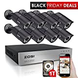 ZOSI CCTV Surveillance System H.264 8CH 720P DVR 1TB Hard Disk with 8x 1280TVL 100ft 30m Night Vision 3.6mm Lens Security Bullet Cameras HD Home Security Kits Easy access to PC and Smartphone
