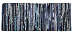 DII Home Essentials Rag Rug Runner for Kitchen, Bathroom, Entry Way, Laundry Room and Bedroom, 2\'3 x 6-Feet, Nautical Blue