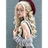 Imstyle Blonde Wigs For Women Ash Blonde Lace Front Wigs Synthetic Long Wave Platinum Blonde Wigs With Heat Resistant Hair 24 inches (Color: Blonde, Tamaño: Medium)
