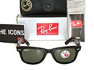 Ray Ban Original Wayfarer 2140 Black Natural Green Polarized RB2140 901/58 50mm