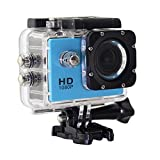 Videoc�mara de Acci�n - 12MP, HD, 1080P, Gran Angular, Sumergible hasta 30m, Incluye m�ltiples accesorios (Color Azul)