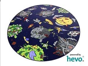 space blau weltraum hevo teppich spielteppich kinderteppich 200 cm rund oeko tex. Black Bedroom Furniture Sets. Home Design Ideas