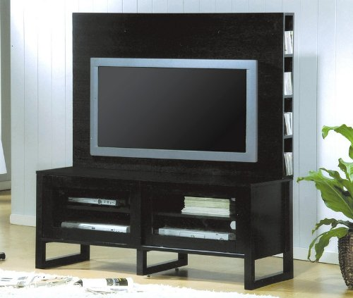 Cheap Black Flat Panel TV Stand with Hutch Entertainment Center (VF_700172H-700172T)