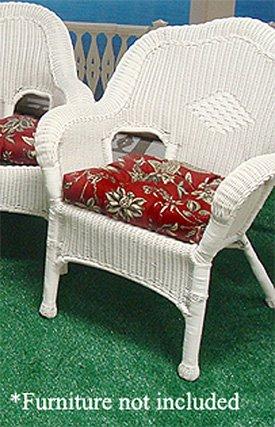 Wicker Furniture Outdoor Patio Single Chair Cushion - Red English Garden