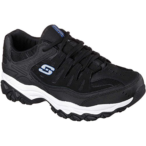 Skechers Sport Men's Afterburn Memory Foam Lace-Up Sneaker, Black/Royal, 9 M US