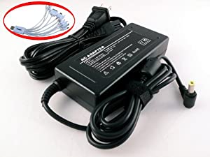 iTEKIRO Laptop AC Power Adapter Notebook Charger for Toshiba ADP-65DB, ADP-65HB, ADP-75FB-A, ADP-75SB AB, ADP-75SB BB, Satellite M640, M645, P740, P740D, P745, P745D, P750, P750D, P755, P755D,P770, P770D, P775, P775D, R845, Portege R700, R705, R830, R835, R930, Tecra R840, R850, R940, R950 Including 2-Prong Power Cord + iTEKIRO MP3 MP4 Mini Speaker